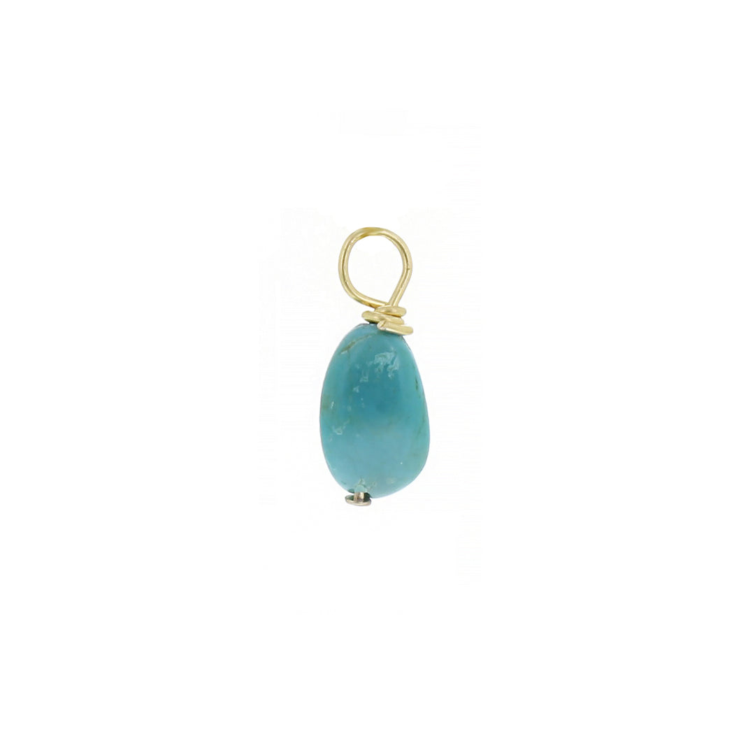 GOLD EARRING CHARM DECEMBER TURQUOISE
