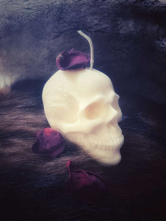 Undressed Skull Candle - White