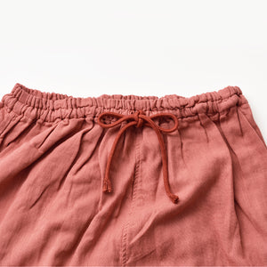 Herbal-dyed 2 Layers Gauze Pajamas Set Coral Pink [Kyo Wazarashi Mensya]