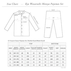 Herbal-dyed 2 Layers Gauze Pajamas Set Charcoal Grey  [Kyo Wazarashi Mensya]