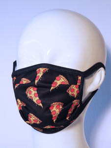 PRINTED PIZZA - ACCORDION MASK W/FILTER POCKET