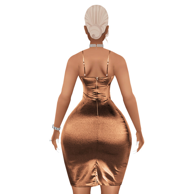 Trophy Wife Satin Dress - Caramel