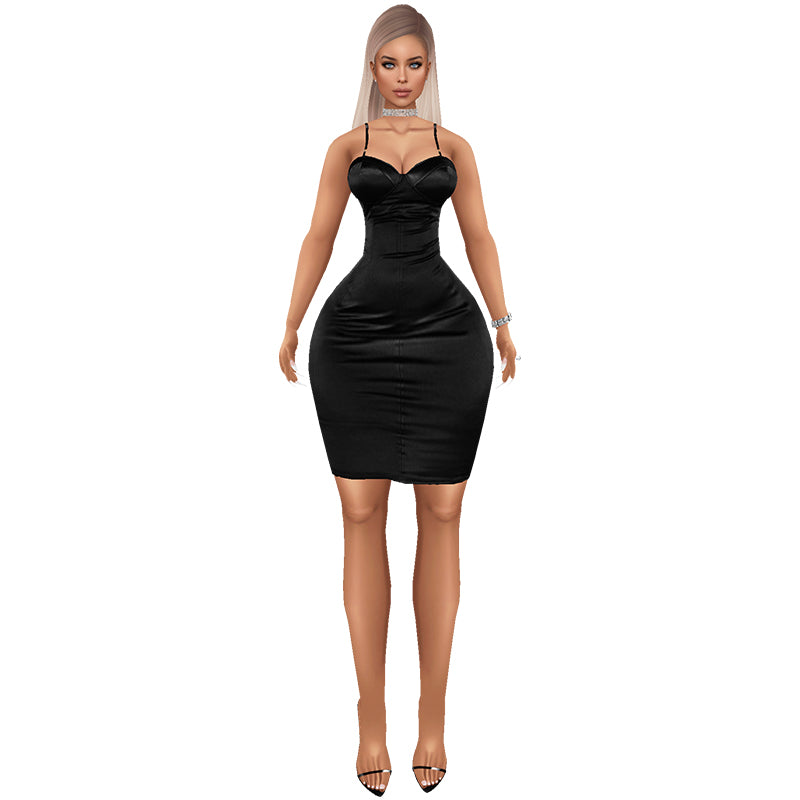 Trophy Wife Satin Dress - Black