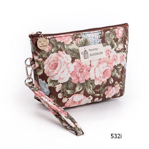 Vintage Floral Printed Cosmetic Bag