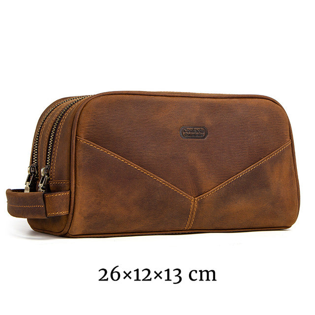 Business Class- Genuine Leather Mens Toiletry Bag