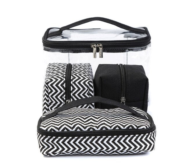 Womens Transparent Cosmetic Toiletry Bag And Make Up Bag Set