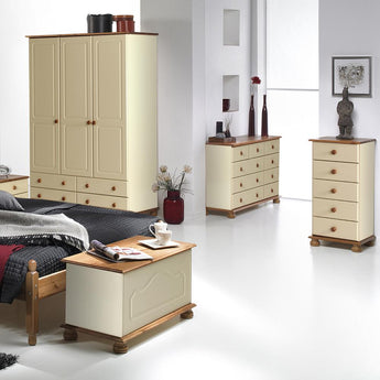 Copenhagen 5 Drawer Narrow Chest Cream and Pine - Alidasa