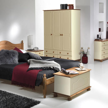 Copenhagen 3 Door 4 Drawer Robe Cream and Pine - Alidasa