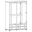 Copenhagen 3 Door 4 Drawer Robe Pine - Alidasa