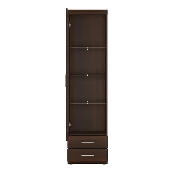 Imperial Tall Glazed 1 Door 2 Drawer Narrow Cabinet - Alidasa