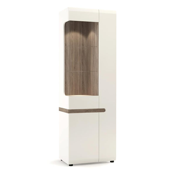 Chelsea Tall Glazed Narrow Display unit (RHD) - Alidasa