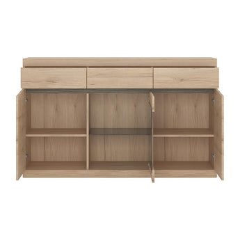Kensington 3 Door 3 Drawer Glazed Sideboard - Alidasa