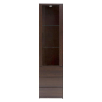 Pello Tall Narrow 1 Door 3 Drawer Glazed Display Cabinet - Alidasa
