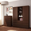Pello Tall Narrow 3 Drawer Bookcase - Alidasa