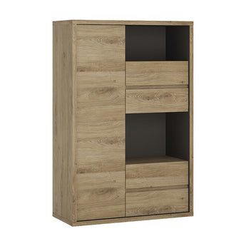 Shetland 1 Door 4 drawer display cabinet - Alidasa