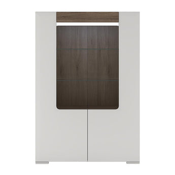 Toronto Low Glazed 2 Door Display cabinet with internal shelves (inc Plexi Lighting) - Alidasa