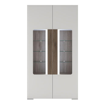 Toronto Tall wide 2 Door glazed display cabinet, with internal shelves (inc Plexi Lighting) - Alidasa