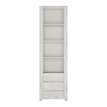 Angel Tall Narrow 3 Drawer Bookcase - Alidasa