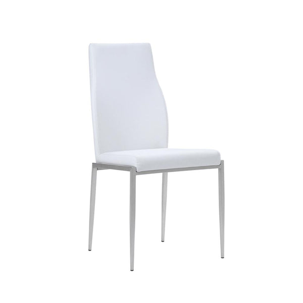 Milan High Back Chair White Leather ( Pack of 2 ) - Alidasa