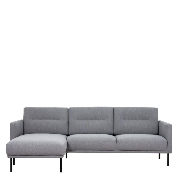 Larvik  Larvik Chaiselongue Sofa (LH) - Grey , Black Legs - Alidasa