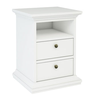 Paris Bedside 2 Drawers in White - Alidasa