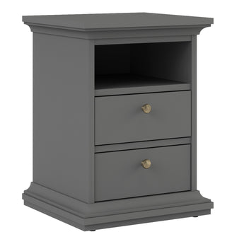 Paris Bedside 2 Drawers in Matt Grey - Alidasa