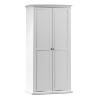 Paris Wardrobe with 2 Doors in White - Alidasa