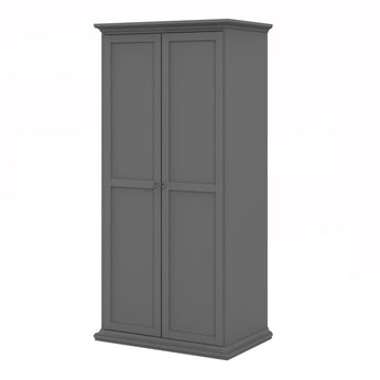 Paris Wardrobe with 2 Doors in Matt Grey - Alidasa