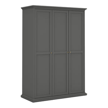 Paris Wardrobe with 3 Doors in Matt Grey - Alidasa