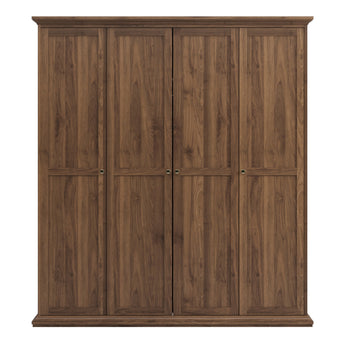 Paris Wardrobe with 4 Doors in Walnut - Alidasa
