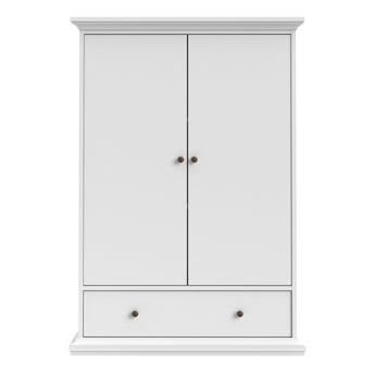 Paris Wardrobe with 2 Doors 1 Drawer 2 Shelves in White - Alidasa