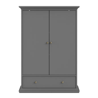 Paris Wardrobe with 2 Doors 1 Drawer 2 Shelves in Matt Grey - Alidasa