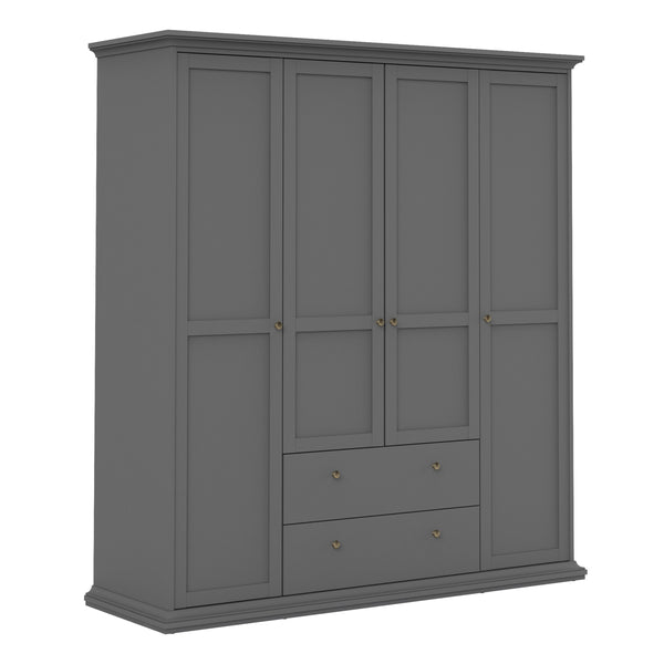 Paris Wardrobe with 4 Doors & 2 Drawers in Matt Grey - Alidasa