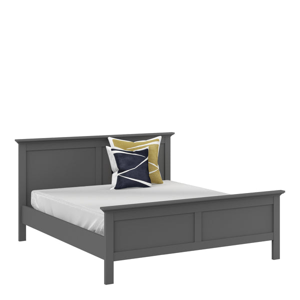 Paris Super King Bed (180 x 200) in Matt Grey - Alidasa
