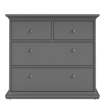Paris Chest of 4 Drawers in Matt Grey - Alidasa