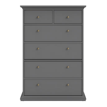 Paris Chest of 6 Drawers in Matt Grey - Alidasa
