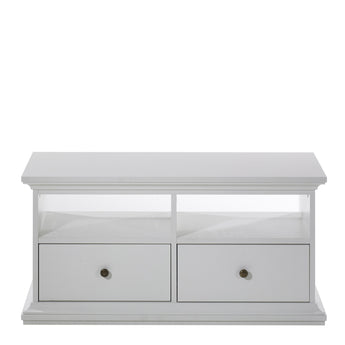 Paris TV Unit - 2 Drawers 2 Shelves in White - Alidasa