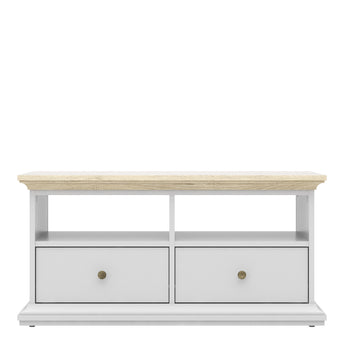 Paris TV Unit - 2 Drawers 2 Shelves in White and Oak - Alidasa
