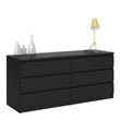 Naia Wide Chest of 6 Drawers (3+3) in Black Matt - Alidasa