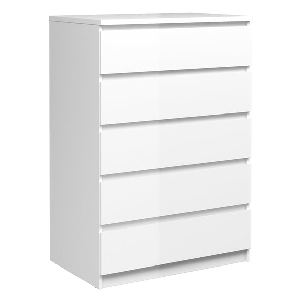 Naia Chest of 5 Drawers in White High Gloss - Alidasa