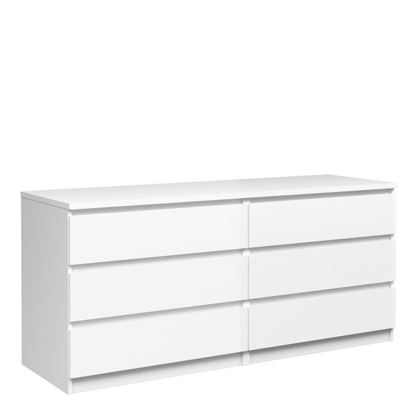 Naia Wide Chest of 6 Drawers (3+3) in White High Gloss - Alidasa