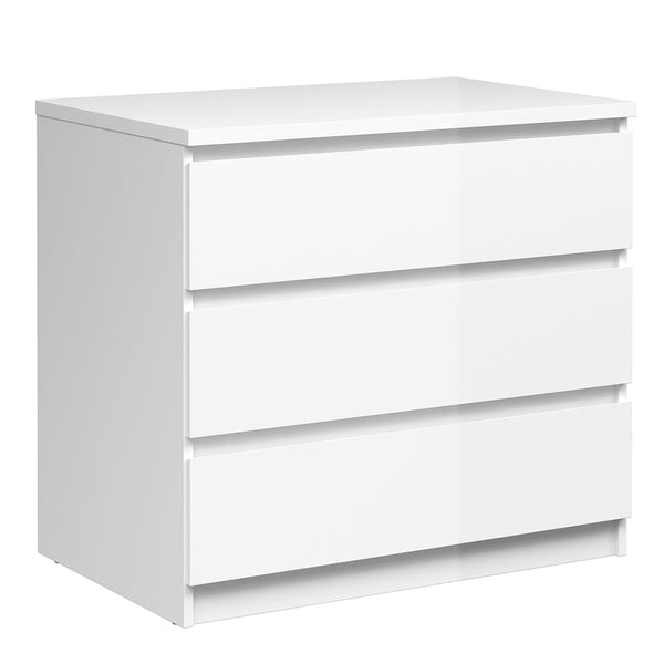 Naia Chest of 3 Drawers in White High Gloss - Alidasa