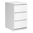 Naia Bedside - 3 Drawers in White High Gloss - Alidasa