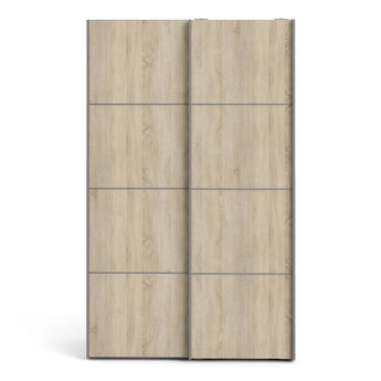 Verona Sliding Wardrobe 120cm in White with Oak Doors with 2 Shelves - Alidasa
