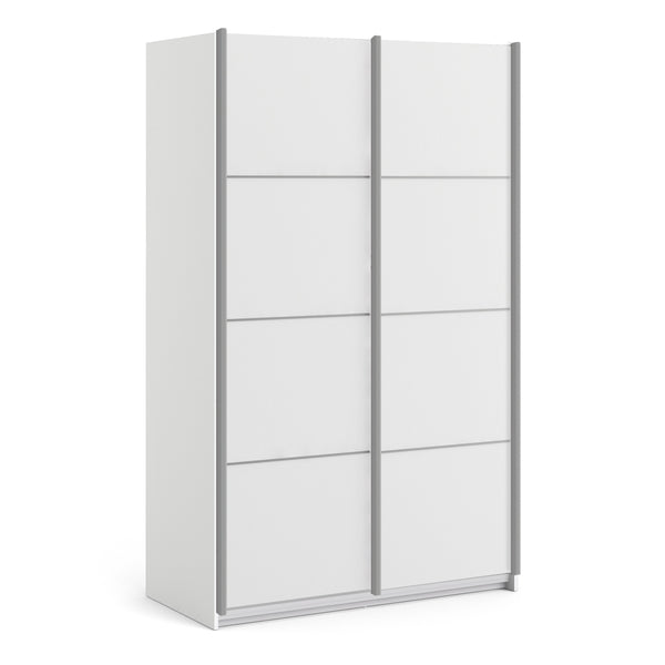Verona Sliding Wardrobe 120cm in White with White Doors with 5 Shelves - Alidasa
