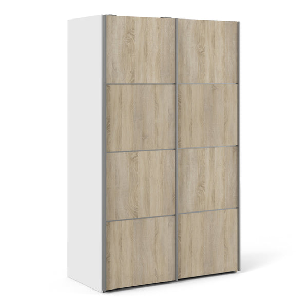 Verona Sliding Wardrobe 120cm in White with Oak Doors with 5 Shelves - Alidasa