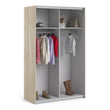 Verona Sliding Wardrobe 120cm in Oak with White Doors with 2 Shelves - Alidasa