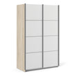 Verona Sliding Wardrobe 120cm in Oak with White Doors with 5 Shelves - Alidasa
