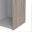 Verona Sliding Wardrobe 120cm in Truffle Oak with White Doors with 5 Shelves - Alidasa