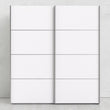 Verona Sliding Wardrobe 180cm in White with White Doors with 2 Shelves - Alidasa